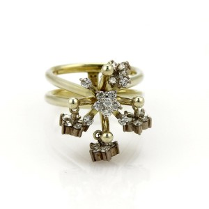 Vintage 1.00ct Diamond 14k Two Tone Gold Moveable Chandelier Ring Size - 6.5