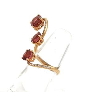 Vintage 5.90ct Tourmaline & Diamond 18k Rose Gold Fancy Long Spiral Open Ring