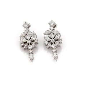 Estate 6.50ct Diamond 14k White Gold Floral Drop Dangle Earrings