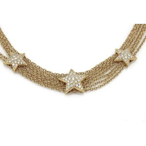 Estate 2.30ct Diamond 3 Stars Station 18k Yellow Gold Multi-Chain Necklace