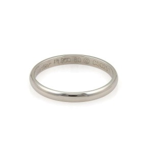 Cartier Platinum 2.5mm Wide Plain Dome Wedding Band Size 60-US 9.25