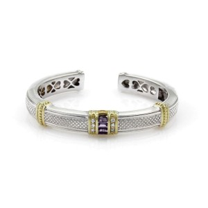 Judith Ripka 1.1ct Diamond & Amethyst Sterling 18k YGold Cuff Bangle Bracelet