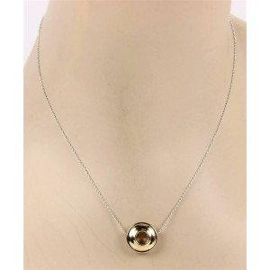 Tiffany & Co. 925 Silver 18k Yellow Gold Saucer Pendant & Chain Necklace
