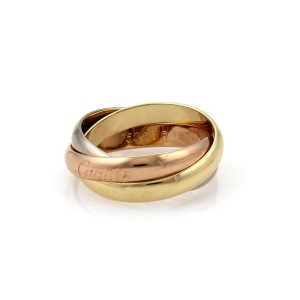 Cartier Trinity 18k Tricolor Gold 3.5mm Rolling Band Ring Size 53-US 6.25