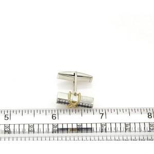 Tiffany & Co. Sterling 18k Yellow Gold Long Post X Design Cufflinks