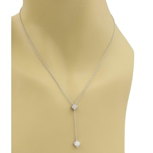 Tiffany & Co. Gehry Diamond 18k White Gold Torque Lariat Pendant Necklace