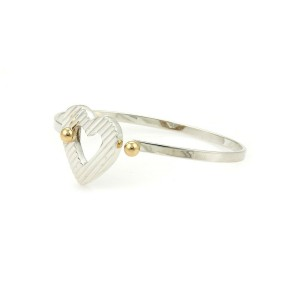 Tiffany & Co. 14k Yellow Gold Sterling Silver Heart Hook Band Bracelet