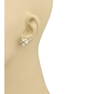 Tiffany & Co. 925 Silver & 18k Yellow Gold Crossover Hearts Stud Earrings