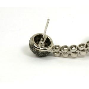 Elegant 4.21ct Black & White Diamond 18k White Gold Swirl Design Dangle Earrings