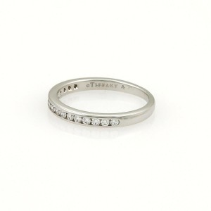 Tiffany & Co. Half Circle Diamonds Platinum 2mm Band Ring Size 4.75