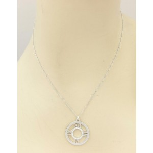 Tiffany & Co. Atlas 18k WGold & Diamond Roman Numeral Round Pendant Necklace