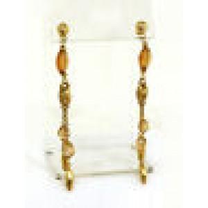 Citrine Gemstones & Mariner Link Double Strand Drop Dangle Earrings in 14k YGold