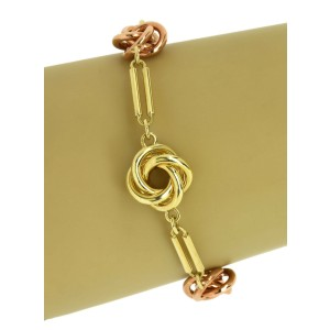 Vintage 14k Rose & Yellow Gold Love Knot & Fancy Bar Link Bracelet