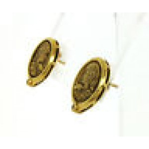Vintage Diamond Carved Cameo 18k Yellow Gold Round Stud Earrings
