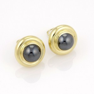 Tiffany & Co. Paloma Picasso 18K Yellow Gold Circular Hematite Designer Earrings