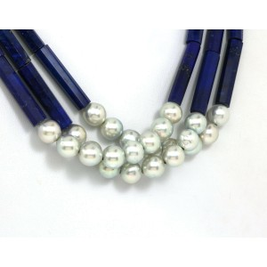 Gorgeous 22k Yellow Gold Triple Strand Lapis & Pearls Necklace