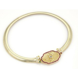 Estate 1.97ct Diamonds & Rubies 18k Yellow Gold 9mm Wide Collar Necklace