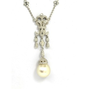 1.00ct Diamond Large South Sea Pearl Floral Dangle Pendant & Chain Necklace