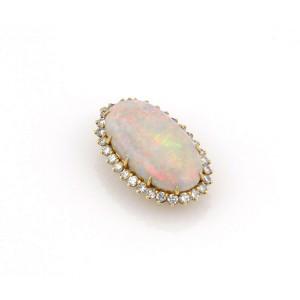 Estate 18K Yellow Gold 14.5ct Opal & Diamond Ring / Pendant