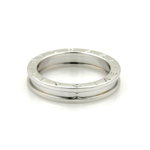 Bvlgari Bulgari B Zero-1 Single 18k White Gold 5mm Band Ring Size EU 50-US 5.25