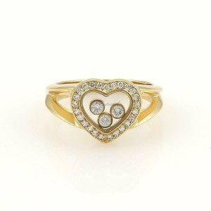 Chopard Happy Diamond 18k Yellow Gold Heart Bezel 3 Floating Diamond Ring