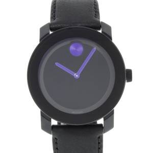 Movado Bold Black Dial Blue Accents Steel Plastic Quartz Unisex Watch 3600479
