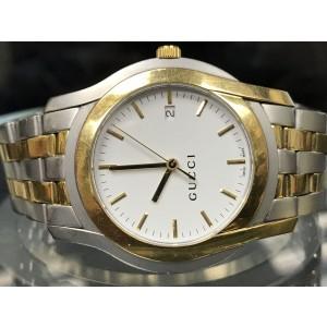 Gucci 5500 Gold Tone Steel Swiss White Dial Quartz Mens Watch YA055216