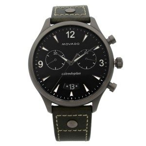 Movado Heritage Gunmetal Steel Green Leather Black Dial Quartz Watch 3650029