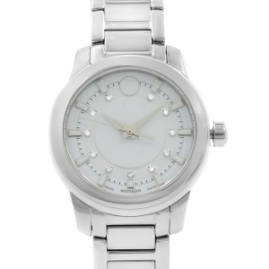 Movado Collection White Dial Steel Ceramic Quartz Ladies Watch 0606943