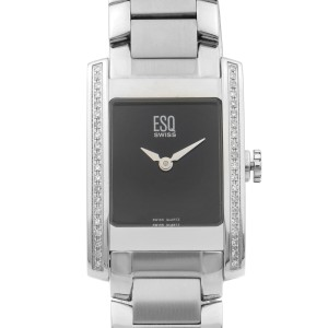 ESQ By Movado Stainless Steel Diamond Bezel Black Dial Quartz Watch 07101101