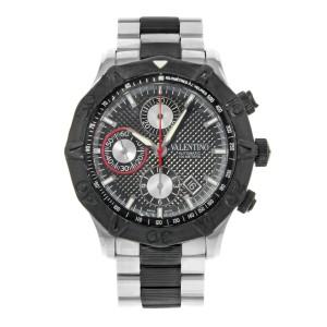 Valentino Rubber Bezel Chrono Black Steel Automatic Mens Watch V40LCA9R909-S09R