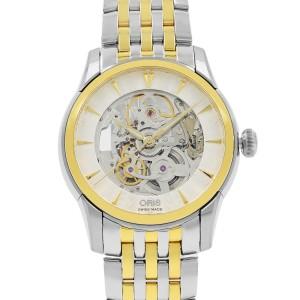 Oris Artelier Skeleton Steel Gold PVD Automatic Mens Watch 734-7670-4351MB