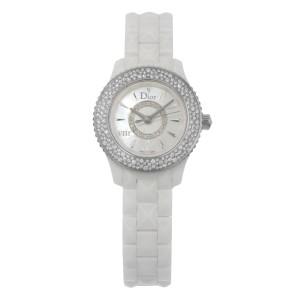 Christian Dior VIII MOP Hi Tech Ceramic Diamond Quartz Ladies Watch CD1221E4C001