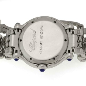 Chopard Happy Sport 7 Floating Diamonds & Sapphire SSteel Date Wrist Watch