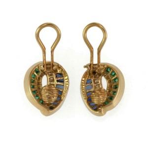 Charles Krypell 2.60ct Diamond Emerald Sapphire 18k Gold Post Clip Earrings