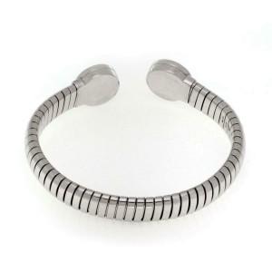 Bvlgari Bulgari Diamond 18k White Engrave Circle Tubogas Flex Bracelet
