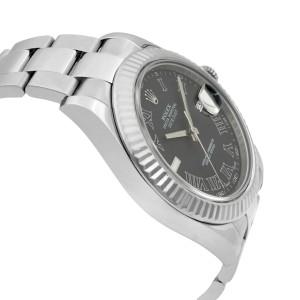 Rolex Datejust II 41 Steel 18K Gold Dark Grey Dial Automatic Men Watch 116334
