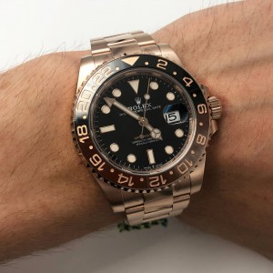 Rolex GMT-Master II 126715 Root Beer 18K Rose Gold Automatic Mens Watch