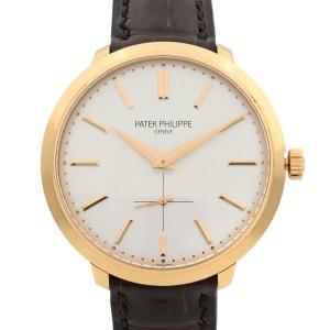 Patek Philippe Calatrava 18k Rose Gold Silver Dial hand Wind Men Watch 5123R-001