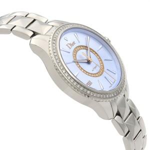 Dior VIII Montaigne Diamond Blue Sunray Dial Automatic Ladies Watch CD152510M001