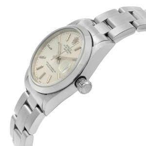 Rolex Datejust Steel Silver Tapestry Dial Automatic Ladies 2002 Watch 78240
