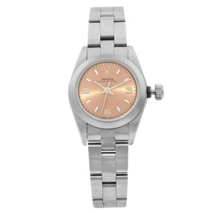 Rolex Oyster Perpetual Steel Bronze Sticks Dial Automatic Ladies Watch 67180