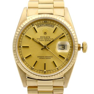 Rolex Day Date President 18K Yellow Gold Champagne Dial Mens Watch 18238