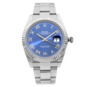 Rolex Datejust 41mm Oyster Band Steel 18K Gold Bezel Blue Dial Mens Watch 126334