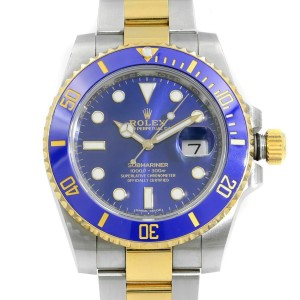 Rolex Submariner Date 40mm Steel 18K Yellow Gold Blue Dial Mens Watch 116613LB
