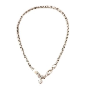Judith Ripka Diamond Pearl 18k White Gold Heart Charm Chain Necklace