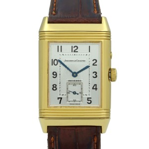 Jaeger LeCoultre Reverso Duo 18K Gold Silver Dial Hand Wind Mens Watch 270.1.54