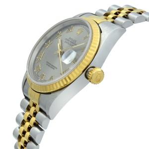 Rolex Datejust 36mm 18K Yellow Gold Steel No Holes Rhodium Dial Mens Watch 16233