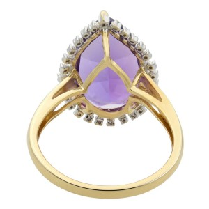Rachel Koen Large Pear-Shaped Amethyst Cocktail Ring with Diamond Halo Size 11