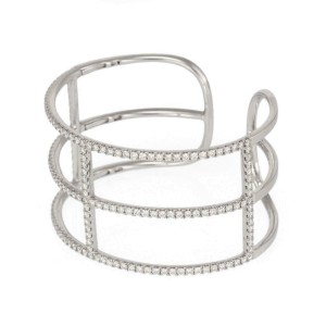 Gorgeous 3.00ct Diamond 18k White Gold Open Style Wide Cuff Bracelet